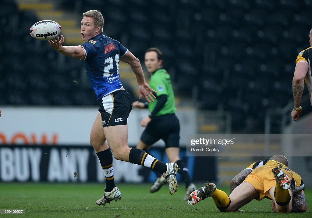 Chris Green of Hull FC controls the ball during a pre-season friendly match between Hull FC and Castleford Tigers at The KC Stadium on January 13, 2013 in Hull, England.