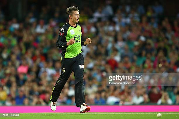 Chris Green of the Thunder celebrates dismissing Nathan Lyon of the Sixers during the Big Bash League match between the Sydney Sixers and the Sydney...