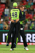 Chris Green of the Thunder celebrates dismissing Ryan Carters of the Sixers caught and bowled during the Big Bash League match between the Sydney...