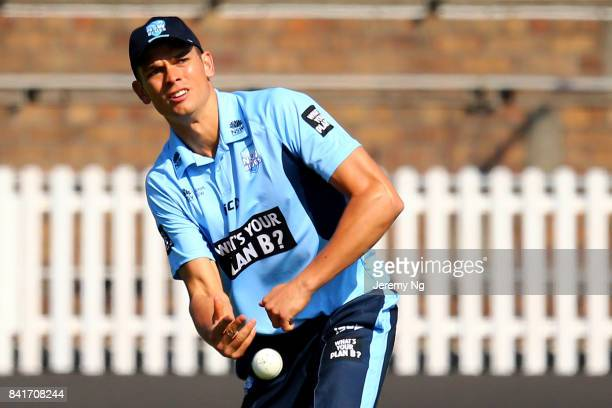 Chris Green throws the ball during the Cricket NSW Intra Squad Match at Hurstville Oval on September 2 2017 in Sydney Australia