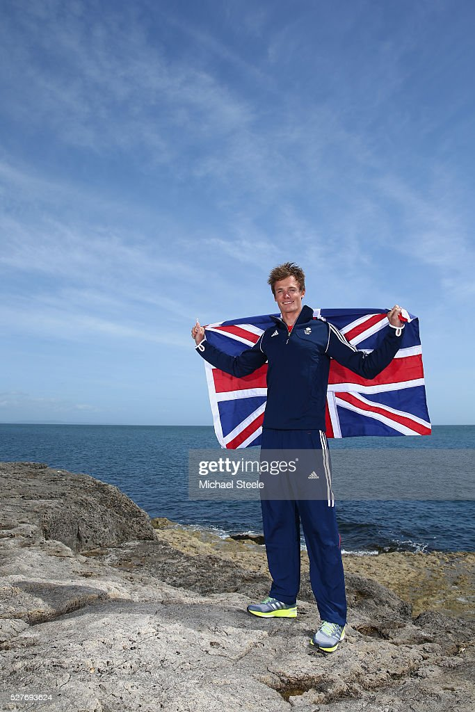 Chris Grube of the 470 Men's Class and Team GB poses during a Team GB Sailing Announcement for the Rio 2016 Olympic Games at Portland Bill on May 3, 2016 in Weymouth, England.