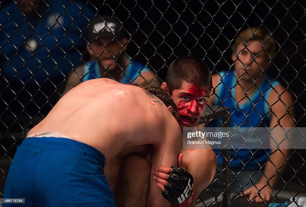 Chris Gruetzemacher pushes Sascha Sharma up against the cage during the filming of The Ultimate Fighter Team McGregor vs Team Faber at the UFC TUF...