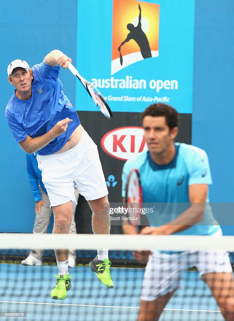 Chris Guccione of Australia and Andre Sa of Brazil compete in their first round match against Bob Bryan and Mike Bryan of the United States during day four of the 2016 Australian Open at Melbourne Park on January 21, 2016 in Melbourne, Australia.