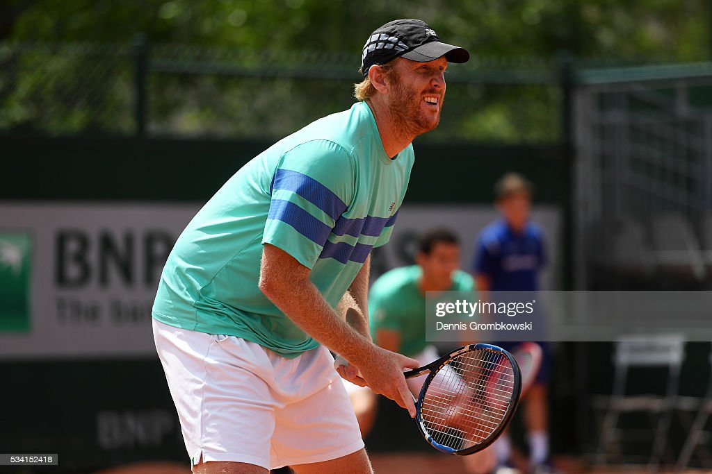<a gi-track='captionPersonalityLinkClicked' href=/galleries/search?phrase=Chris+Guccione+-+Tennisser&family=editorial&specificpeople=217596 ng-click='$event.stopPropagation()'>Chris Guccione</a> of Australia awaits a serve during the Men's Doubles first round match against Juan Sebastian Cabal and Robert Farah of Columbia on day four of the 2016 French Open at Roland Garros on May 25, 2016 in Paris, France.