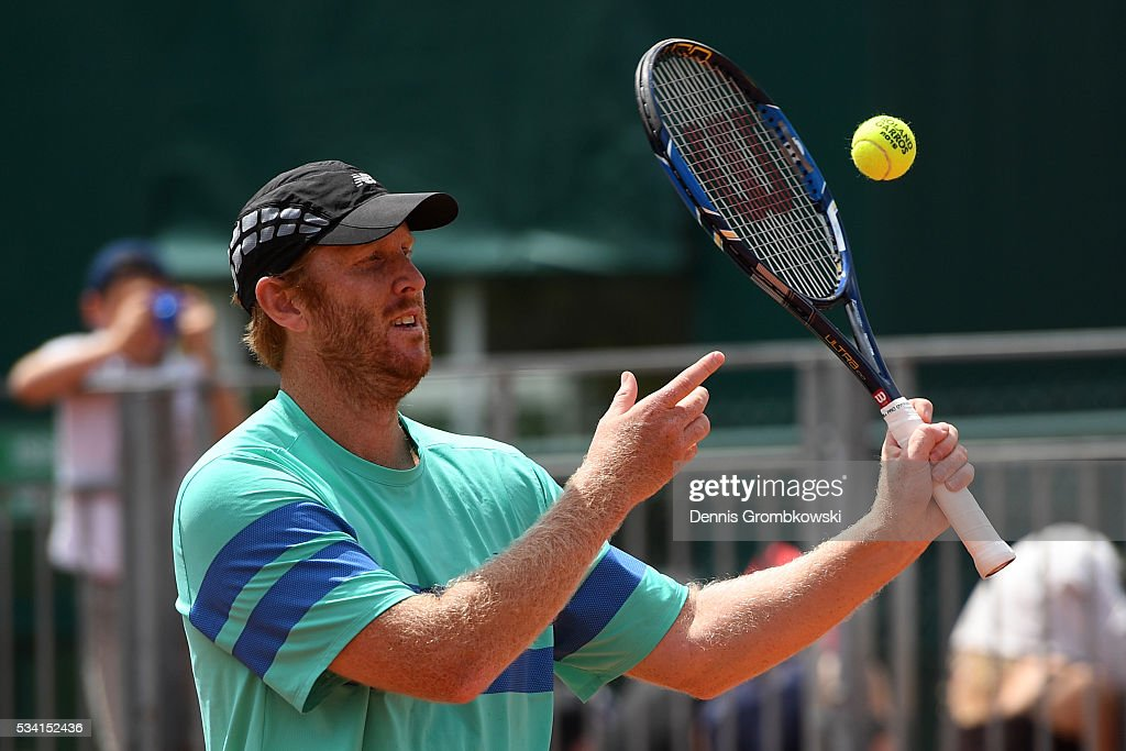 <a gi-track='captionPersonalityLinkClicked' href=/galleries/search?phrase=Chris+Guccione+-+Tennis+Player&family=editorial&specificpeople=217596 ng-click='$event.stopPropagation()'>Chris Guccione</a> of Australia in action during the Men's Doubles first round match against Juan Sebastian Cabal and Robert Farah of Columbia on day four of the 2016 French Open at Roland Garros on May 25, 2016 in Paris, France.