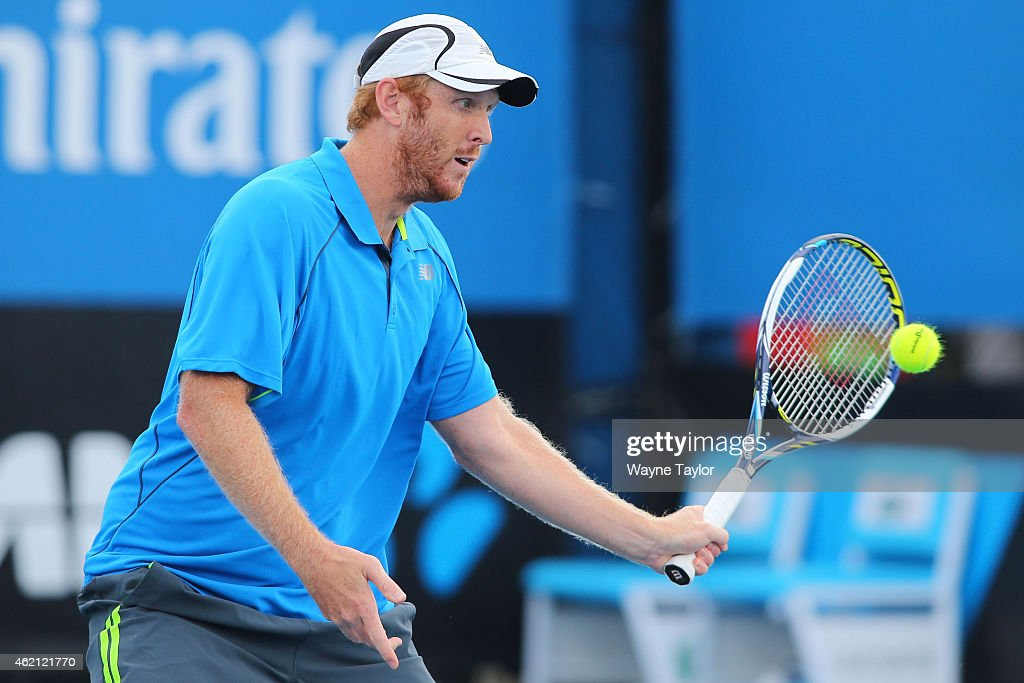 <a gi-track='captionPersonalityLinkClicked' href=/galleries/search?phrase=Chris+Guccione+-+Tennis+Player&family=editorial&specificpeople=217596 ng-click='$event.stopPropagation()'>Chris Guccione</a> of Australia in action in their first round mixed doubles match with Andreja Klepac of Slovakia against Lucie Hradecka of the Czech Republic and Horia Tecau of Romania during day seven of the 2015 Australian Open at Melbourne Park on January 25, 2015 in Melbourne, Australia.