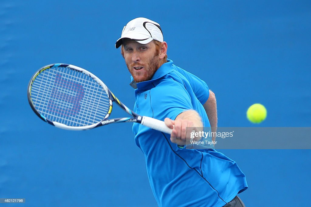<a gi-track='captionPersonalityLinkClicked' href=/galleries/search?phrase=Chris+Guccione+-+Tennisspieler&family=editorial&specificpeople=217596 ng-click='$event.stopPropagation()'>Chris Guccione</a> of Australia in action in their first round mixed doubles match with Andreja Klepac of Slovakia against Lucie Hradecka of the Czech Republic and Horia Tecau of Romania during day seven of the 2015 Australian Open at Melbourne Park on January 25, 2015 in Melbourne, Australia.