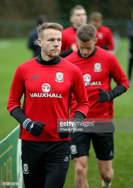 Chris Gunter in action during the Wales Training Session at The Vale Resort on November 06 2017 in Cardiff Wales