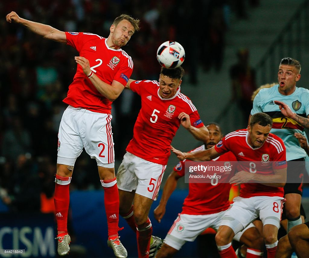 Chris Gunter (2) James Chester (5) Ashley Williams (6) and Andy King (8) of Wales in action against Toby Alderweireld (2) of Belgium during the UEFA Euro 2016 quarter final match between Wales and Belgium at Stade Pierre-Mauroy on July 1, 2016 in Lille, France.