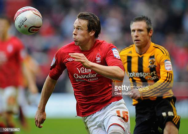 Chris Gunter of Nottingham Forest in action during the npower Championship match between Nottingham Forest and Hull City at City Ground on March 5...