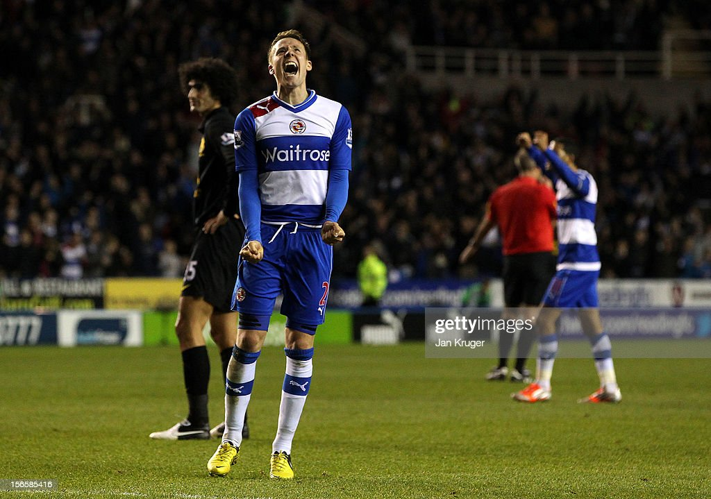 Chris Gunter of Reading celebrates the win during the Barclays Premier League match between Reading and Everton at Madejski Stadium on November 17, 2012 in Reading, England.