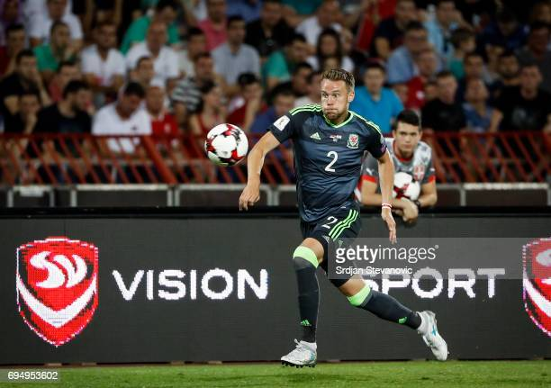 Chris Gunter of Wales in action during the FIFA 2018 World Cup Qualifier between Serbia and Wales at stadium Rajko Mitic on June 11 2017 in Belgrade...