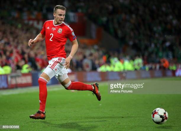 Chris Gunter of Wales in action during the FIFA World Cup Qualifier Group D match between Wales and Republic of Ireland at The Cardiff City Stadium...