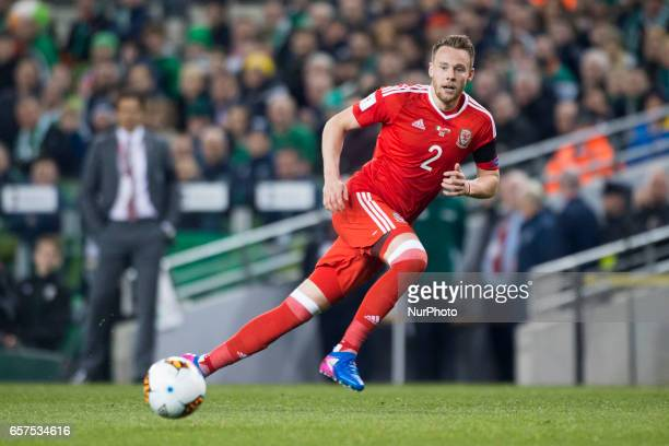 Chris Gunter of Wales pictured in action during the 2018 FIFA World Cup Qualifying Round Group D match between Republic of Ireland and Wales at Aviva...