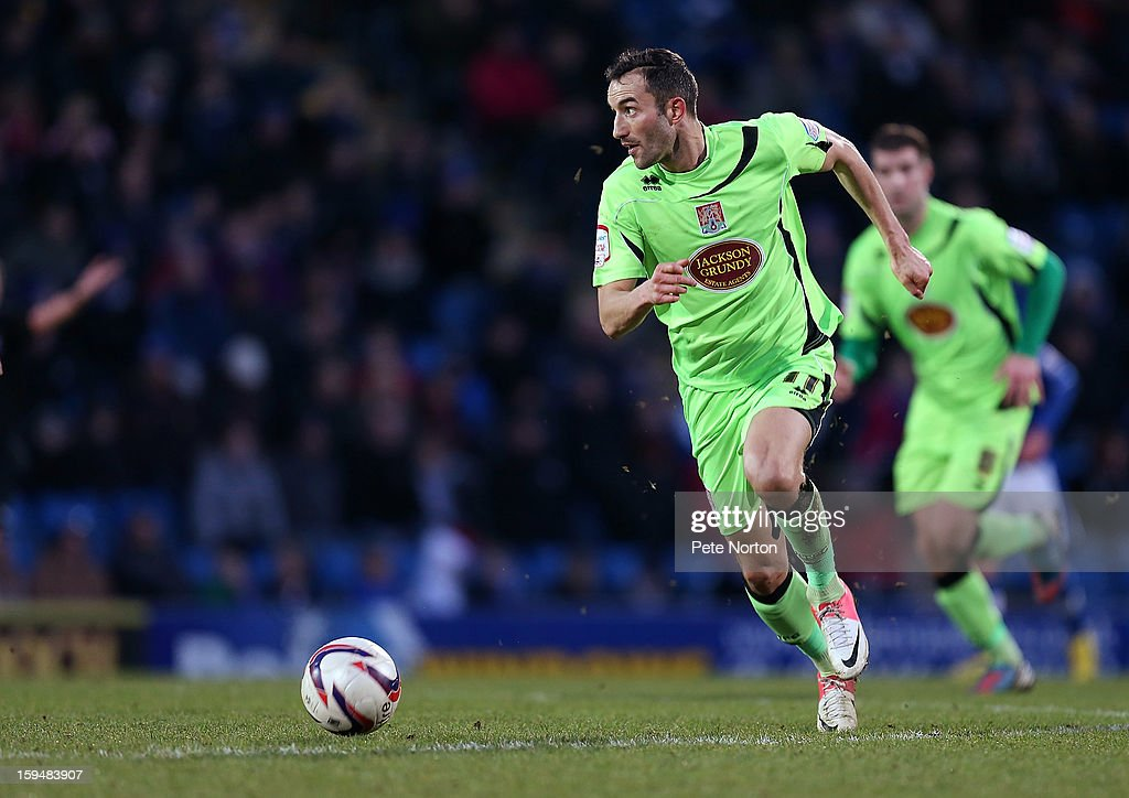 Chris Hackett of Northampton Town in action during the npower League Two match between Chesterfield and Northampton Town at the Proact Srtadium on January 12, 2013 in Chesterfield, England.