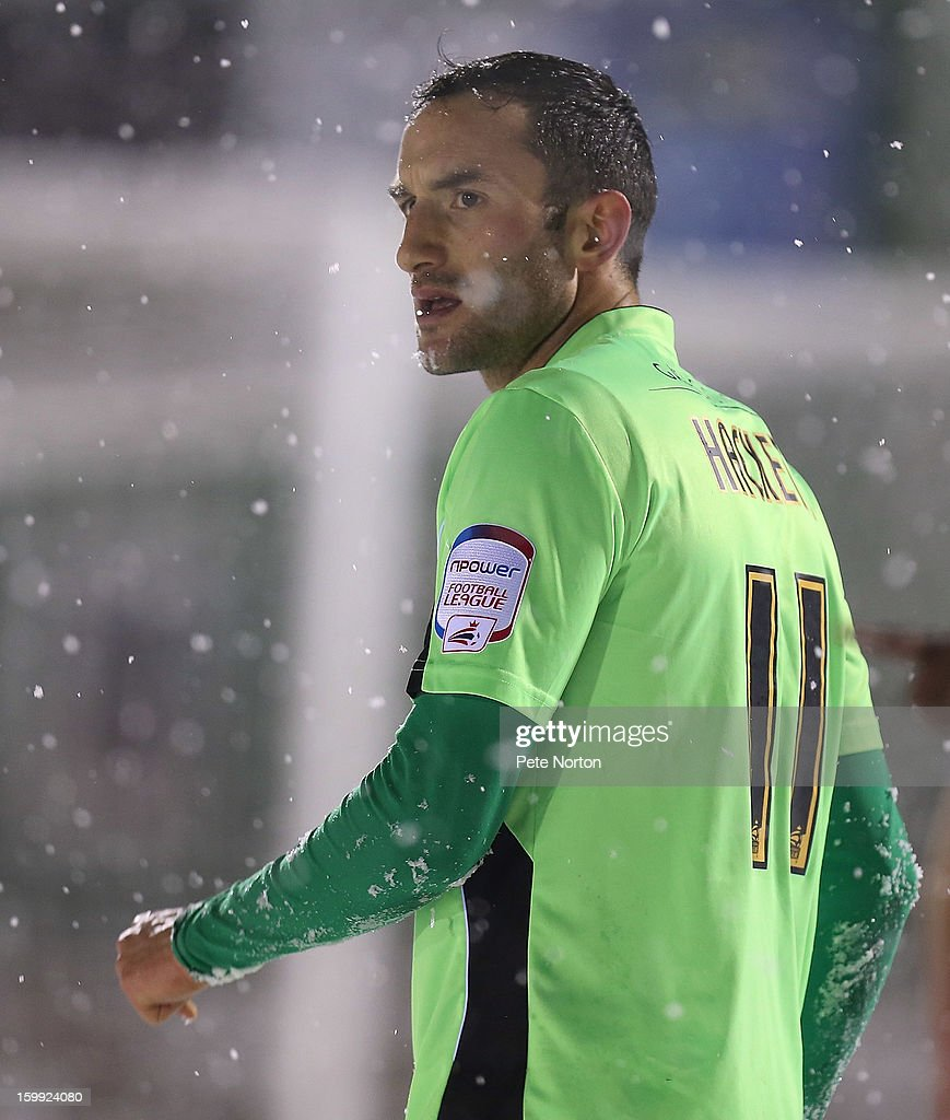 Chris Hackett of Northampton Town in action during the npower League Two match between Aldershot Town and Northampton Town at the EBB Stadium on January 22, 2013 in Aldershot, England.