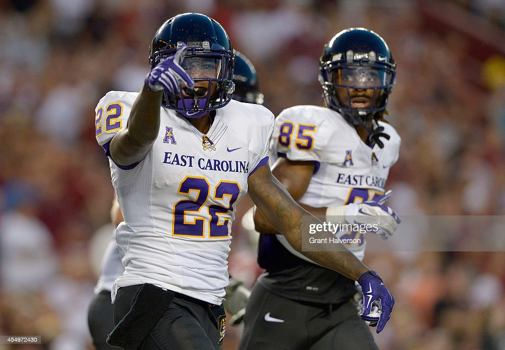 Chris Hairston #22 of the East Carolina Pirates reacts after scoring a touchdown against the South Carolina Gamecocks during their game at Williams-Brice Stadium on September 6, 2014 in Columbia, South Carolina. South Carolina won 33-23.