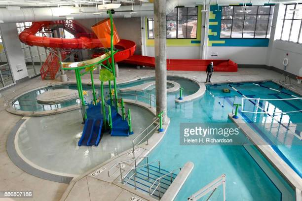 DENVER CO NOVEMBER 29 Chris Hale with Denver Parks and Recreation works on cleaning the kids pool in the new Carla Madison Recreation Center on...