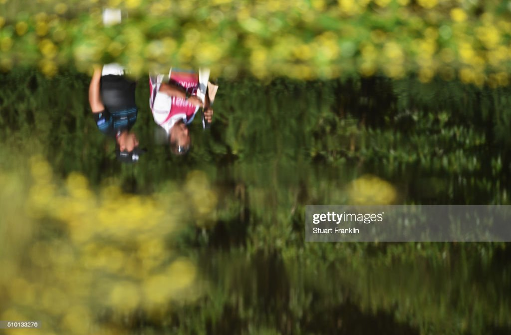 <a gi-track='captionPersonalityLinkClicked' href=/galleries/search?phrase=Chris+Hanson+-+Golf&family=editorial&specificpeople=15203701 ng-click='$event.stopPropagation()'>Chris Hanson</a> of England and caddie are reflected in a pond during the final round of the Tshwane Open at Pretoria Country Club on February 14, 2016 in Pretoria, South Africa.