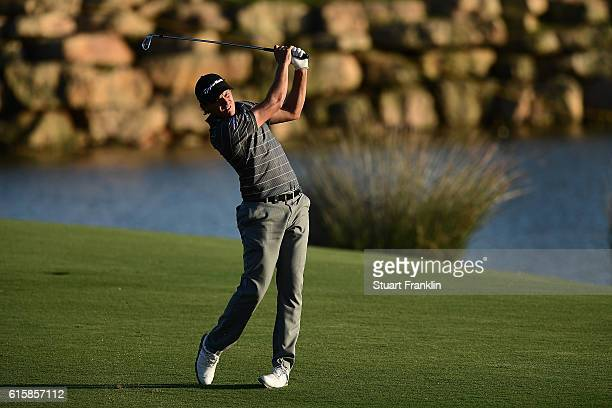 Chris Hanson of England hits an approach during day one of the Portugal Masters at Victoria Clube de Golfe on October 20 2016 in Vilamoura Portugal