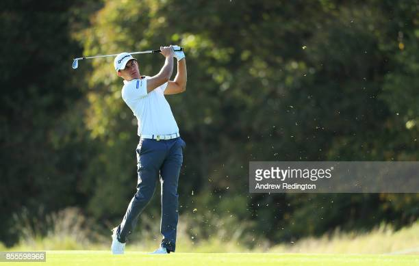 Chris Hanson of England hits his second shot on the 4th hole during day two of the British Masters at Close House Golf Club on September 29 2017 in...