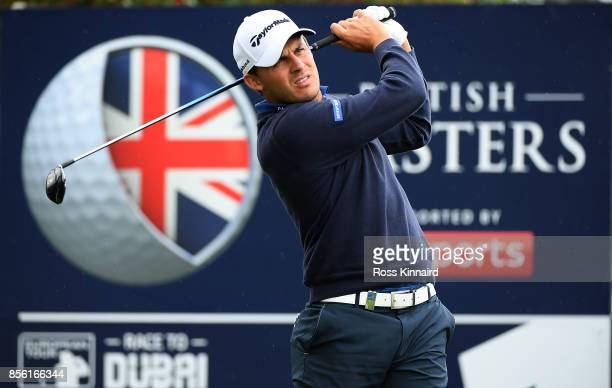 Chris Hanson of England hits his tee shot on the 1st hole during day four of the British Masters at Close House Golf Club on October 1 2017 in...