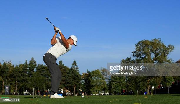 Chris Hanson of England hits his tee shot on the 5th hole during day two of the British Masters at Close House Golf Club on September 29 2017 in...