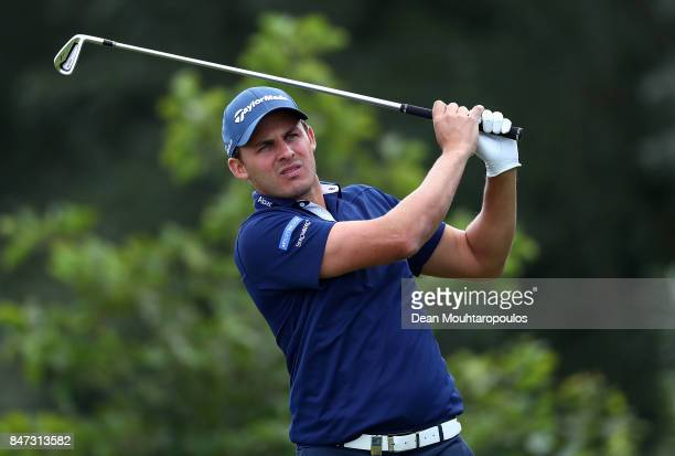 Chris Hanson of England hits his tee shot on the 7th hole during day two of the KLM Open at The Dutch on September 15 2017 in Spijk Netherlands