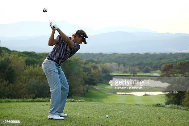 Chris Hanson of England in action during the fifth round of the European Tour Qualifying School Final at PGA Catalunya Resort on November 18 2015 in...