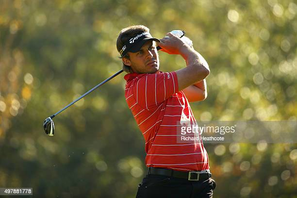 Chris Hanson of England in action during the final round of the European Tour Qualifying School Final at PGA Catalunya Resort on November 19 2015 in...