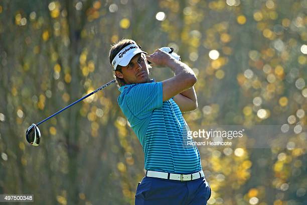 Chris Hanson of England in action during the fourth round of the European Tour Qualifying School Final at PGA Catalunya Resort on November 17 2015 in...