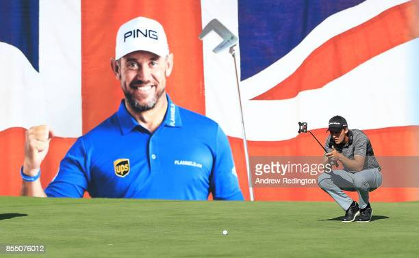 Chris Hanson of England lines up a putt on the 18th hole during day one of the British Masters at Close House Golf Club on September 28 2017 in...