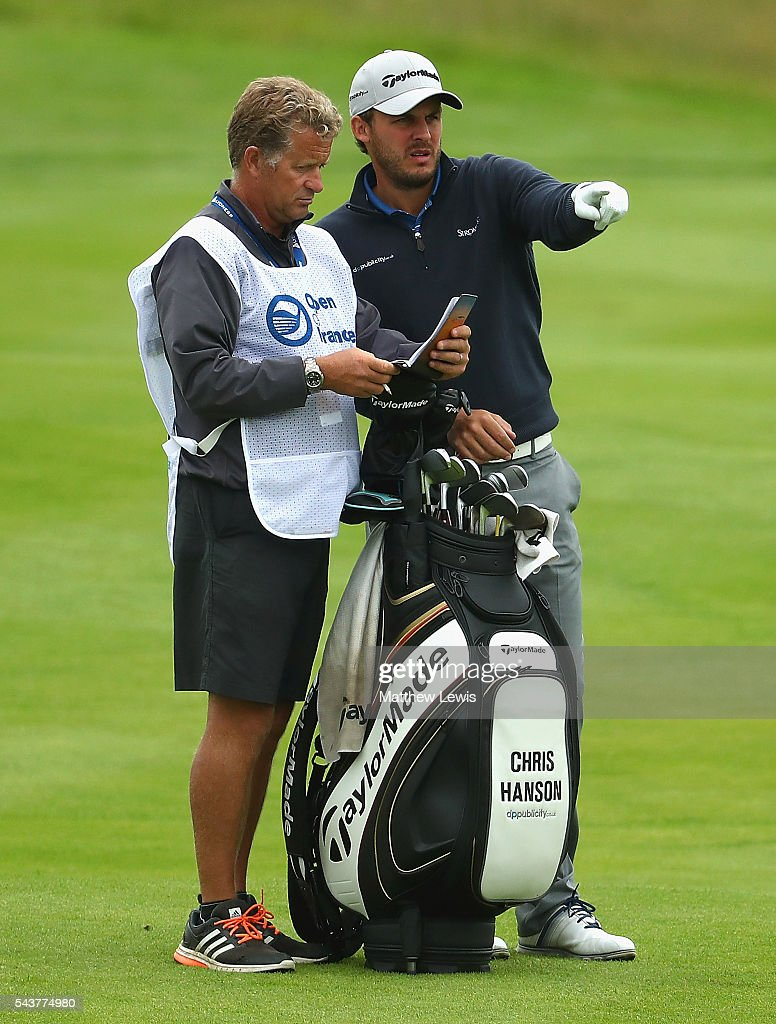 <a gi-track='captionPersonalityLinkClicked' href=/galleries/search?phrase=Chris+Hanson+-+Golfer&family=editorial&specificpeople=15203701 ng-click='$event.stopPropagation()'>Chris Hanson</a> of England looks on with his caddie during day one of the 100th Open de France at Le Golf National on June 30, 2016 in Paris, France.