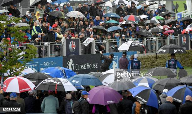 Chris Hanson of England on the firts tee during the third round of the British Masters at Close House Golf Club on September 30 2017 in Newcastle...