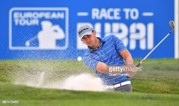 Chris Hanson of England plays from the sand during the second round of The Nordea Masters at Barseback Golf Country Club on June 2 2017 in...