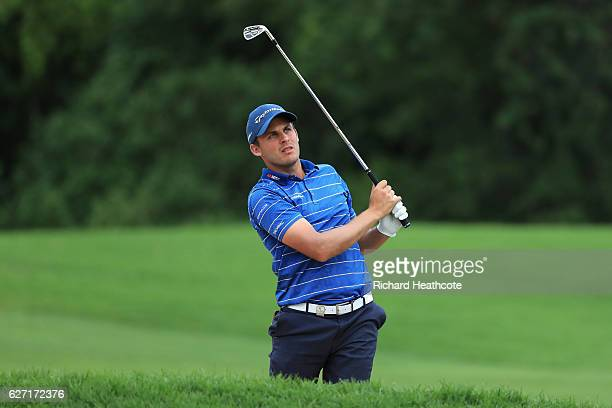 Chris Hanson of England plays his second shot on the 17th during the second round of the Alfred Dunhill Championship at Leopard Creek Country Golf...