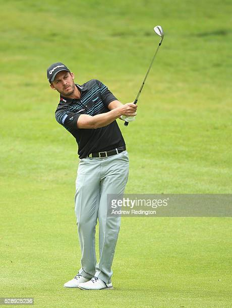 Chris Hanson of England plays his third shot on the 18th hole during the third round of the Trophee Hassan II at Royal Golf Dar Es Salam on May 7...