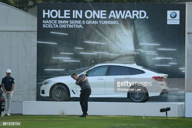 Chris Hanson of England tees off during the final round of the 2017 Italian Open at Golf Club Milano Parco Reale di Monza on October 15 2017 in Monza...