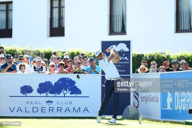 Chris Hanson of England tees off on the 1st hole during the final round of of the Andalucia Valderrama Masters at Real Club Valderrama on October 22...