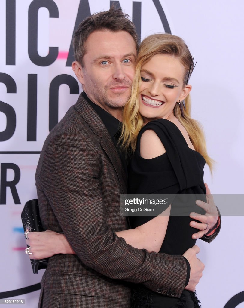 Chris Hardwick and Lydia Hearst arrive at the 2017 American Music Awards at Microsoft Theater on November 19, 2017 in Los Angeles, California.