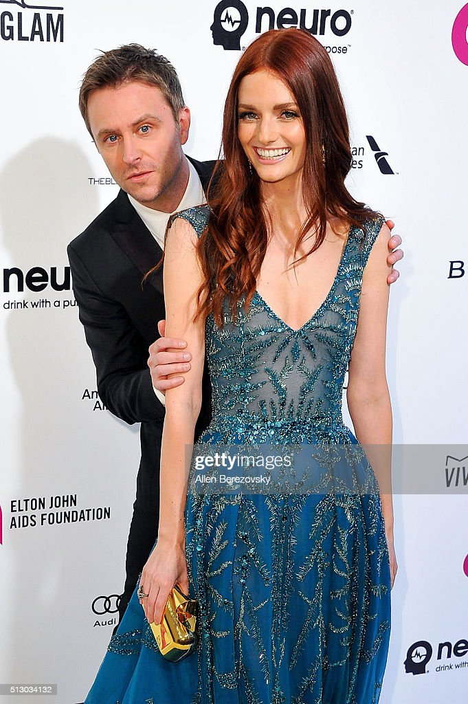 Chris Hardwick and Lydia Hearst arrive at the 24th Annual Elton John AIDS Foundation's Oscar Viewing Party on February 28 2016 in West Hollywood...