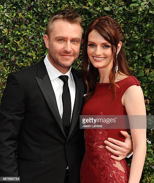 Chris Hardwick and Lydia Hearst attend the 2015 Creative Arts Emmy Awards at Microsoft Theater on September 12 2015 in Los Angeles California