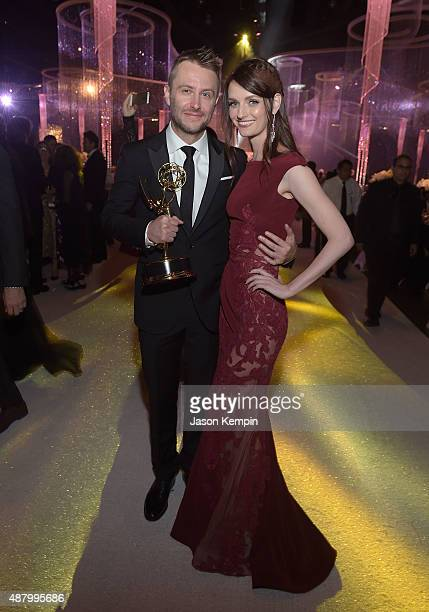 Chris Hardwick and Lydia Hearst attend the 2015 Creative Arts Emmy Awards Governors Ball at Microsoft Theater on September 12 2015 in Los Angeles...