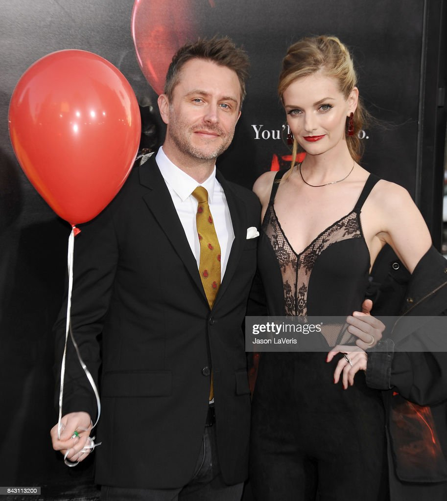 Chris Hardwick and Lydia Hearst attend the premiere of 'It' at TCL Chinese Theatre on September 5, 2017 in Hollywood, California.