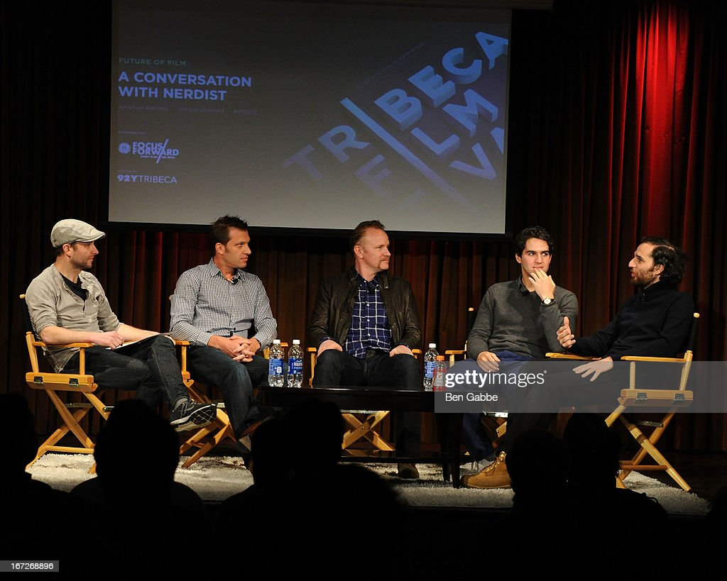 Chris Hardwick, Andy Goldberg, Morgan Spurlock, Benny Safdie and Joshua Safdie speak during the Future Of Film: A Conversation With Nerdist during the 2013 Tribeca Film Festival on April 23, 2013 in New York City.