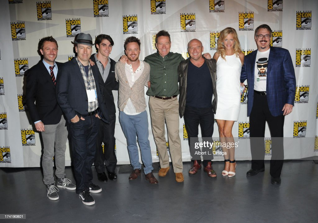 Chris Hardwick, Bob Odenkirk, RJ Mitte, Aaron Paul, Bryan Cranston, Dean Norris, Anna Gunn, and Vince Gilligan speak onstage at the 'Breaking Bad' panel during Comic-Con International 2013 at San Diego Convention Center on July 21, 2013 in San Diego, California.