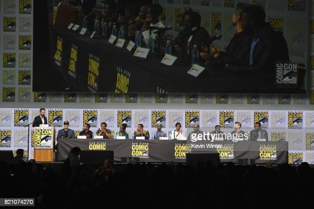Chris Hardwick Kevin Feige Ryan Coogler Chadwick Boseman Lupita Nyong'o Michael B Jordan Danai Gurira Letitia Wright Forest Whitaker Daniel Kaluuya...