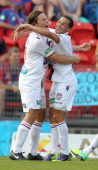 Chris Harold and Adrian Zahra of the Glory celebrate a goal during the round 13 ALeague match between the Newcastle Jets and Perth Glory at Hunter...