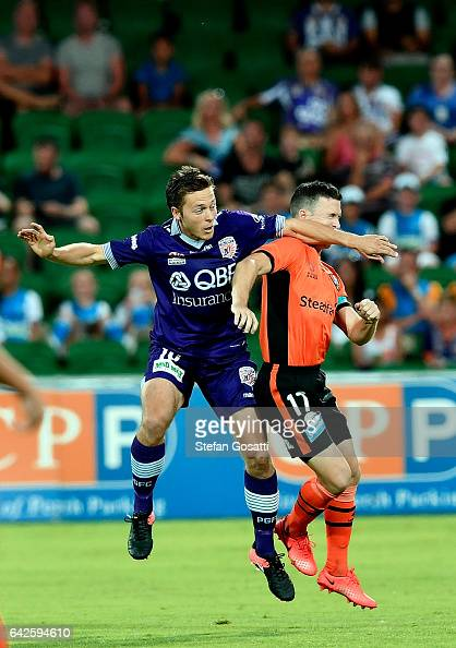 Chris Harold of the Glory and Matt McKay of the Roar clash during the round 20 ALeague match between Perth Glory and Brisbane Roar at nib Stadium on...