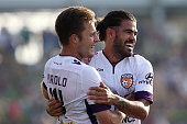 Chris Harold of the Glory celebrates with Aryn Williams after scoring a goal during the round 16 ALeague match between the Newcastle Jets and the...